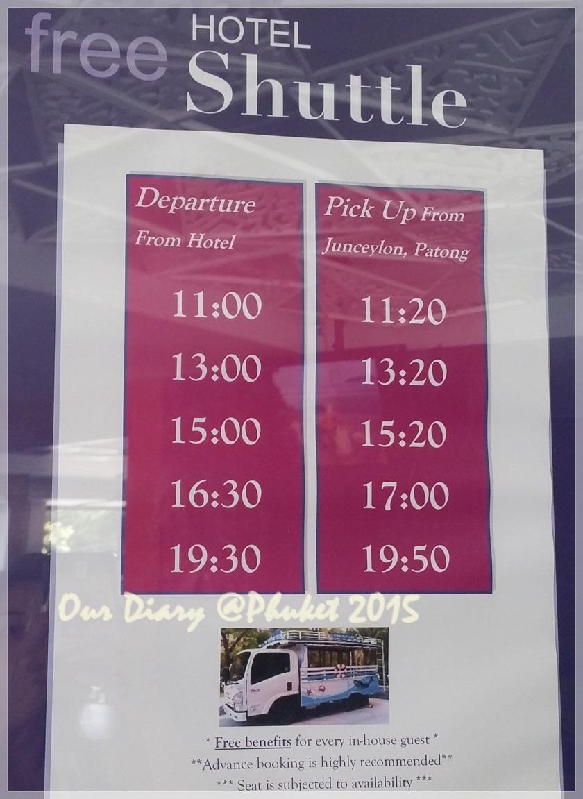 U Zenmaya Phuket Hotel Shuttle Time Table