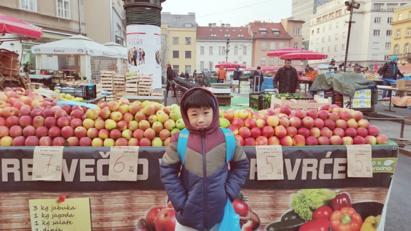 Our morning little walk to the Dolac Market Zagreb Croatia