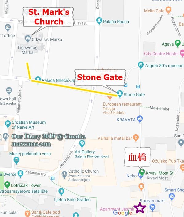 克羅地亞 Stone Gate 步行散步地圖