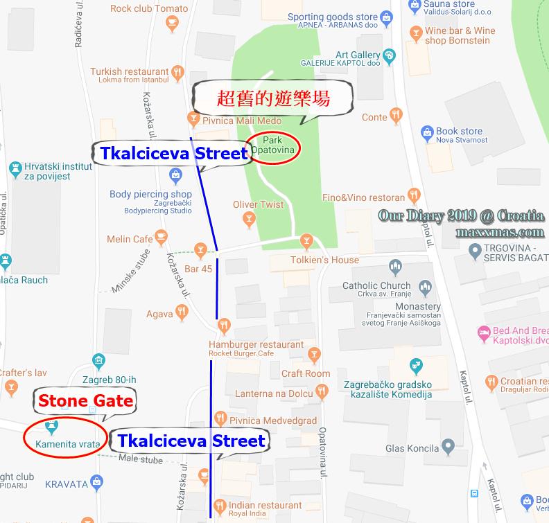Tkalciceva street, stone gate, playground map